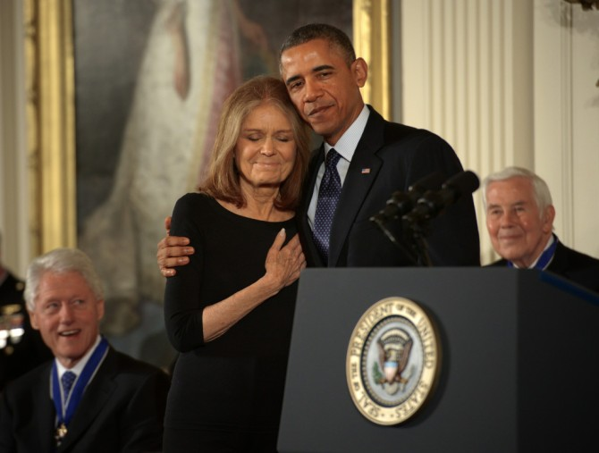 President Barack Obama awards the Presidential Medal of Freedom to Gloria Steinem, among others, in Washington, DC.