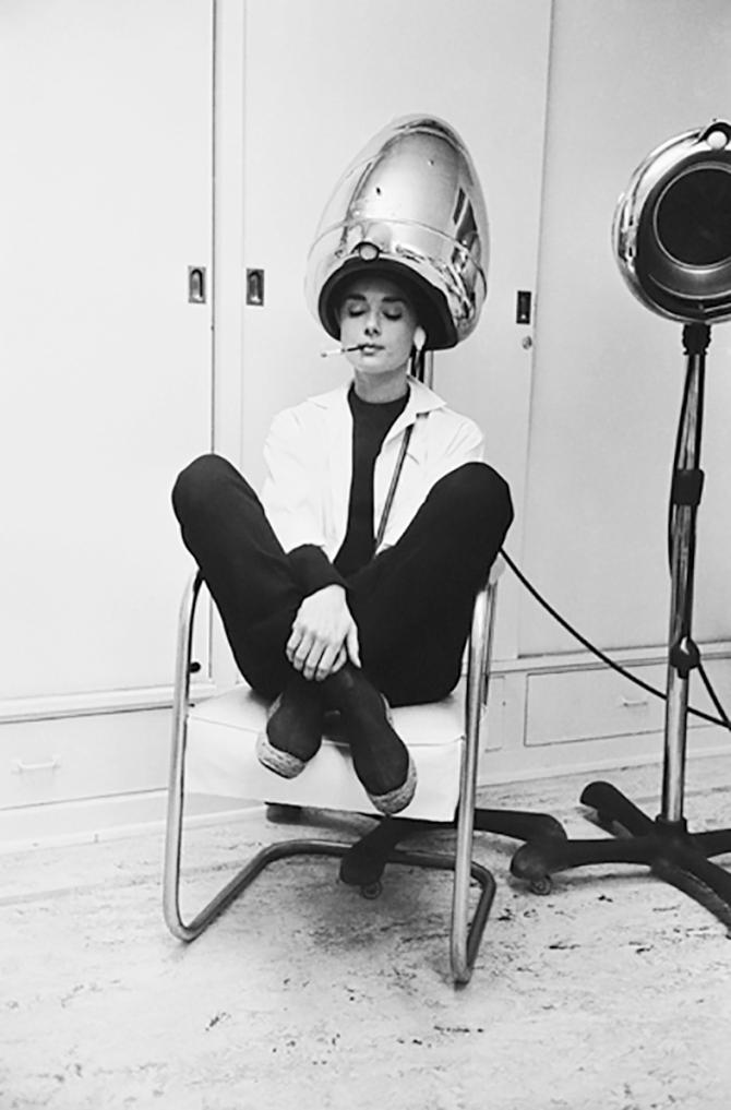 Audrey Hepburn Smoking Under a Hair Dryer, 1953