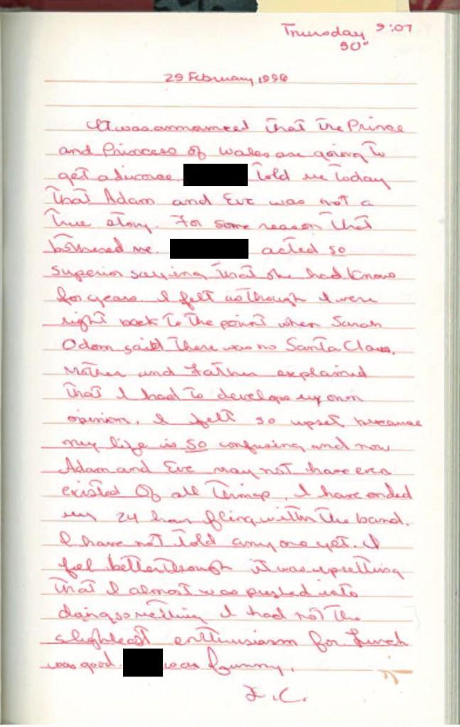 diana diary entry