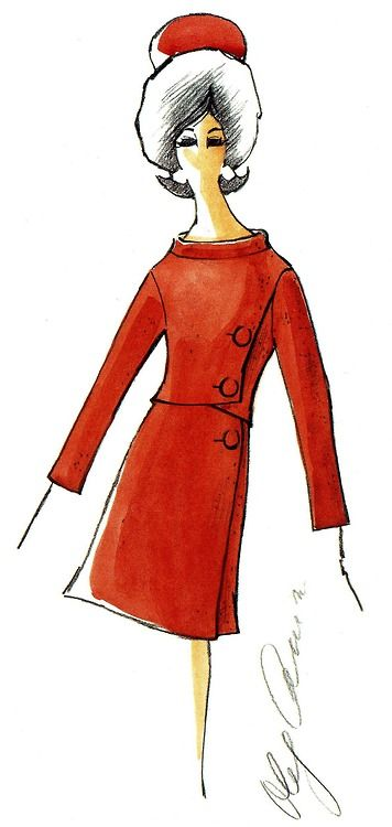 oleg cassini white house tour suit sketch