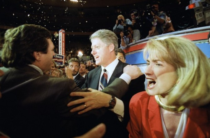 The Clintons at the Democratic National Convention. July 15, 1992. (AP Photo/Doug Mills)
