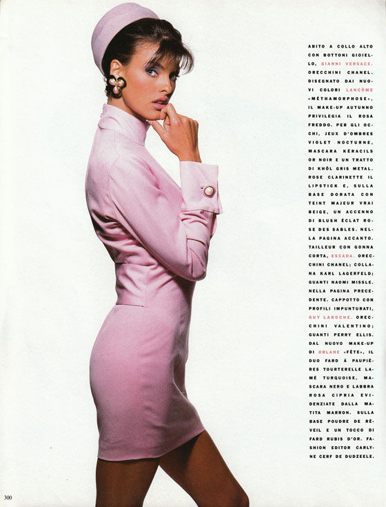 Vogue Italia September 1990. Model- Linda Evangelista Photographer- Patrick Demarchelier