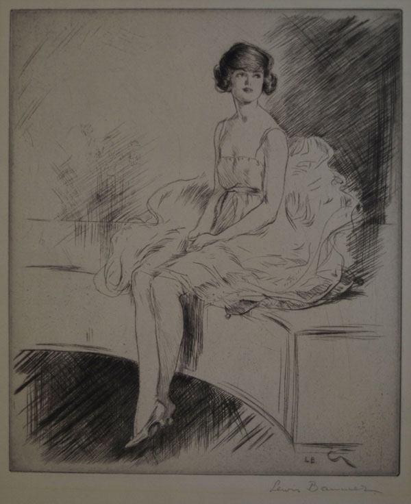 (Lewis Baumer, etching, ''young woman seated'', c. 1920)