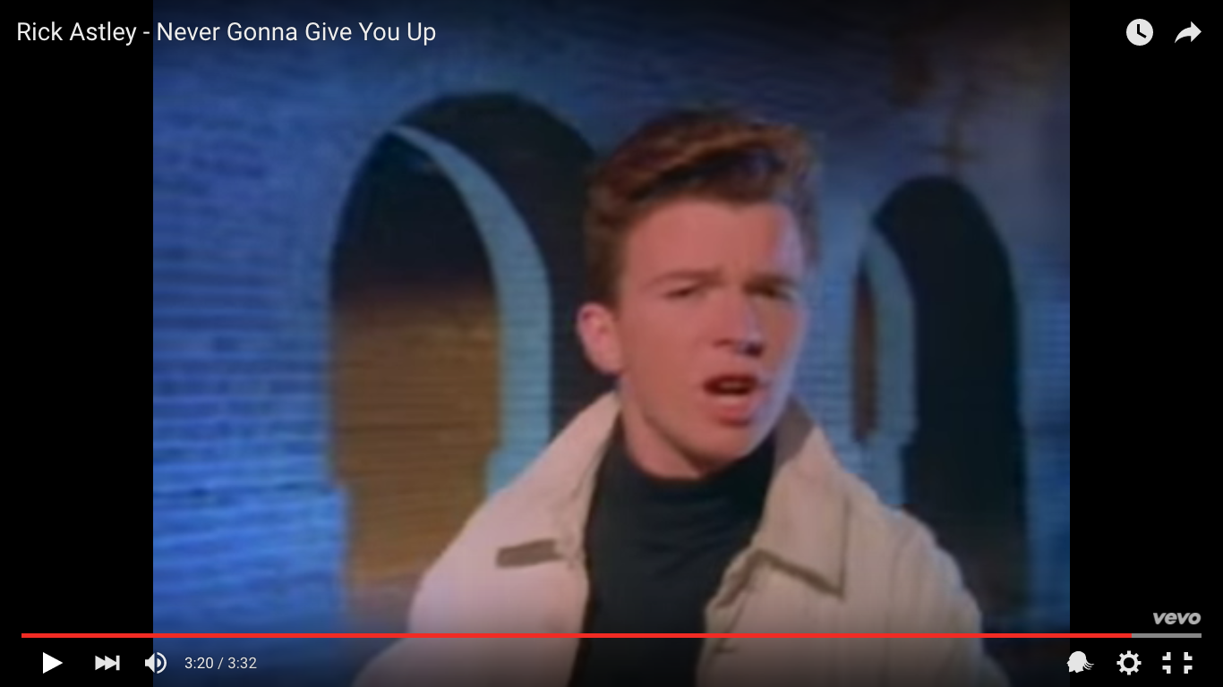 Rick Astley Never Gonna Give You Up Video Youtube - HD 1366×768