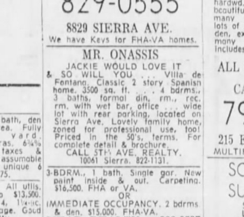 mr onassis house ad